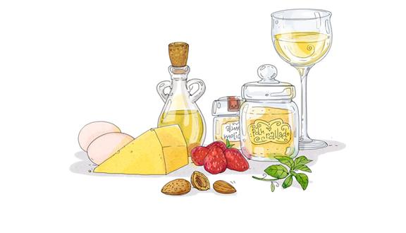 """Queso empanado con almendras del blog """"Cartoon Cooking"""" de Alya Markova"""