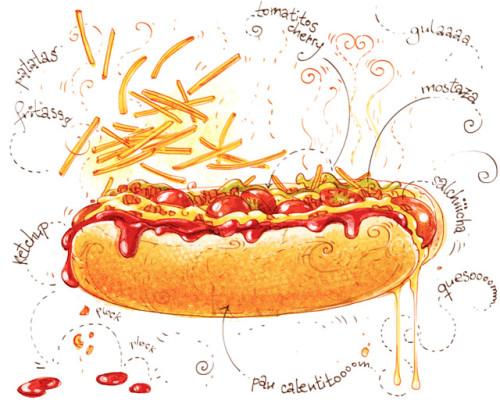 """Receta ilustrada de super perrito caliente del blog """"Cartoon Cooking"""" de Alya Mark"""