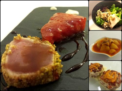 Diferentes platos con bonito elaborados por el Asador Lakuntza