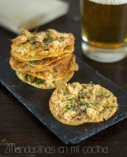 Tortillas de camarones de 2 mandarinas en mi cocina que maridan con vino Alba