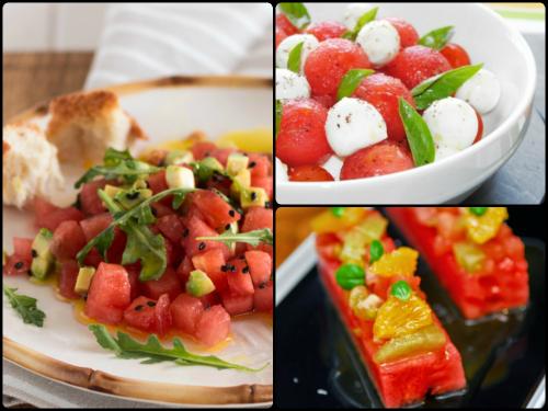 Diferentes ensaladas con sandía que encpntrarás en Recetags.com, éstas de los blogs Because, Gastronomía & Cía y las recetas de MJ