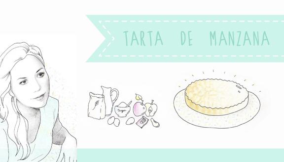 Tarta de manzana. Receta ilustrada de Almudena de ALMU D ARTE