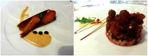Mojama y tartar de atún del menú degustación del restaurante El Pradal