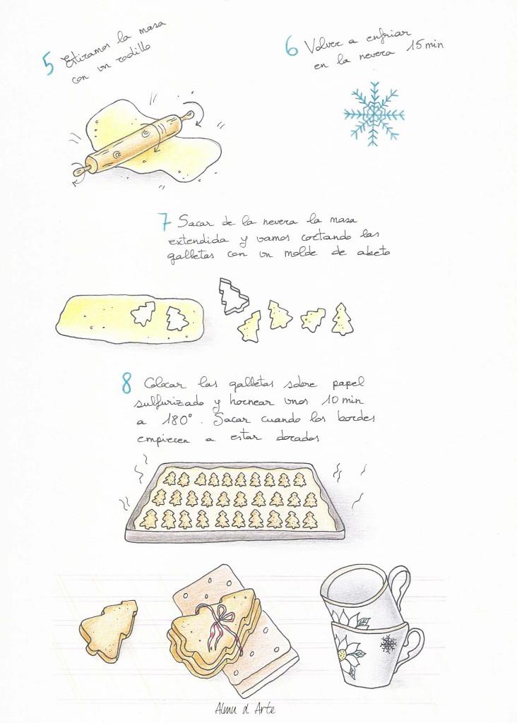Galletas abeto, de castañas y queso de To be gourmet ilustrada por Almu de Arte para Recetags