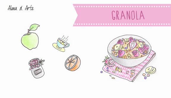 Granola, receta ilustrada de Almu d Arte para el blog de Recetags