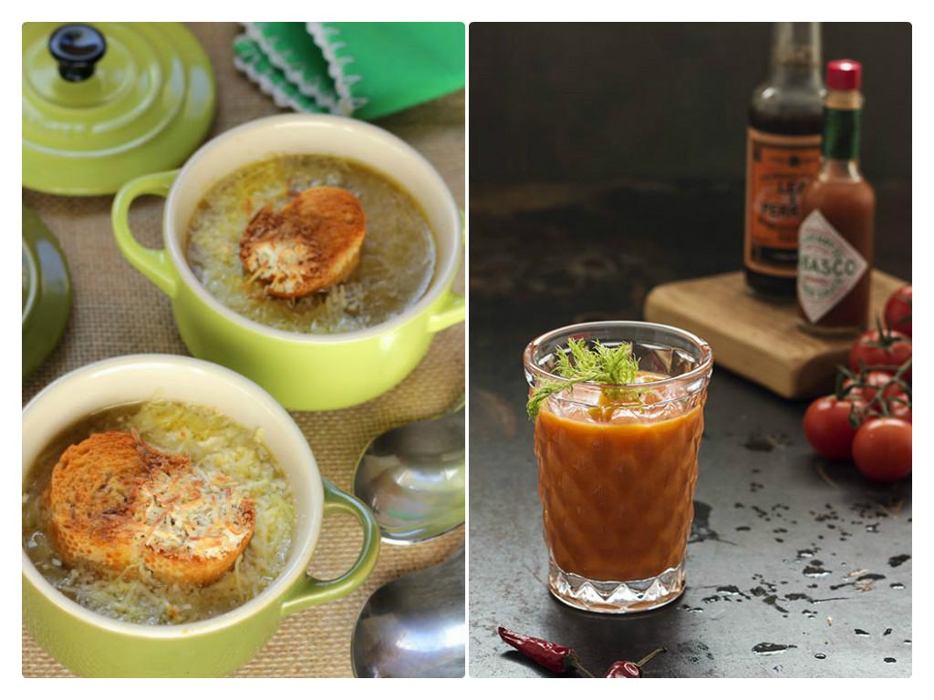 Sopas de cebolla y tomate. Dos recetas tradicionales.
