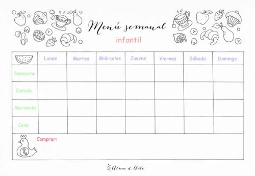 Planifica tu men semanal calendario ilustrado blog de - Menu semanal infantil ...