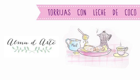 Receta de torrijas con leche de coco ilustrada por Almu d Arte