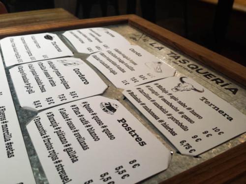 Original carta Paté de perdiz con manzana y oloroso Tacos de morro, encurtidos y anchoas Sandwich de carrillera con portobello y pan de especias en la Tasquería de Javi Estévez