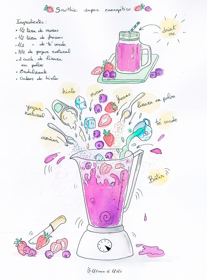 Receta ilustrada de Smoothie super energético del blog Almu d Arte