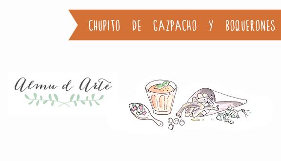 Receta ilustrada de chupito de gazpacho y boquerones fritos