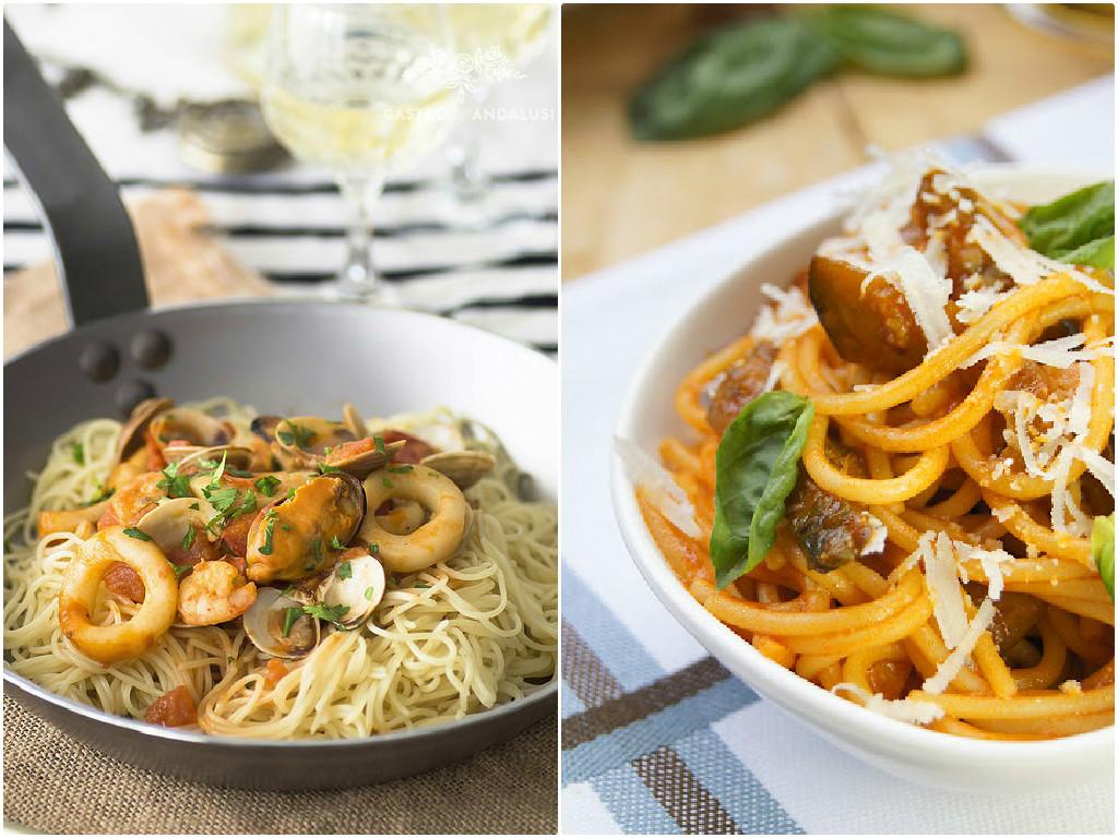 Recetas de espaguetis frutti di mare y norma de Gastroandalusí y Mi dulce tentación