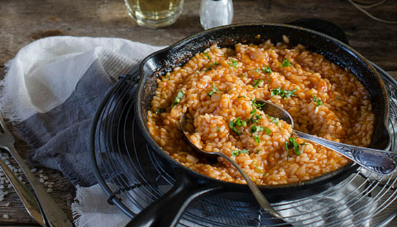 receta de risotto con tomate y albahaca del blog Sabores & momentos