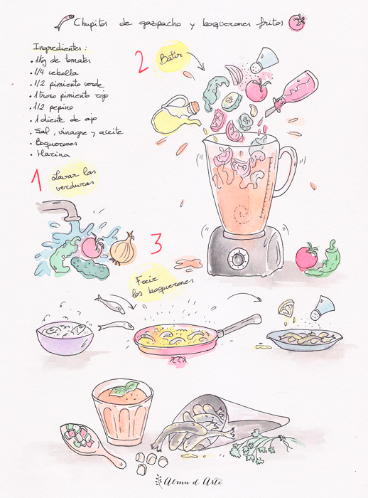 Receta ilustrada de gazpacho y boquerones del blog Almu d Arte