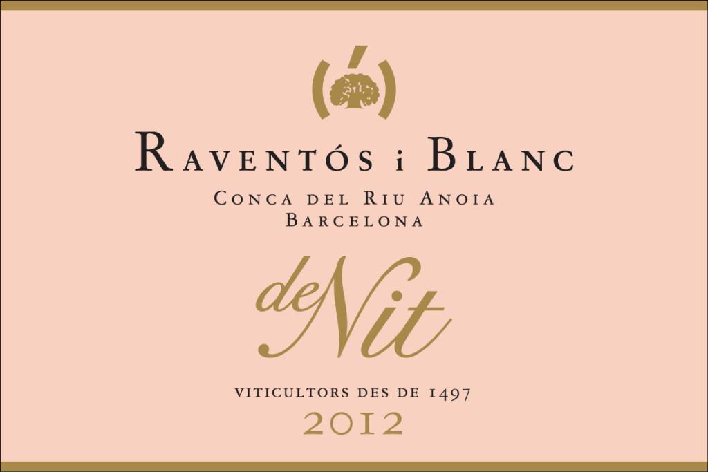 Etiqueta frontal del vino rosado espumoso De Nit 2012 de la bodega Raventos i Blanc