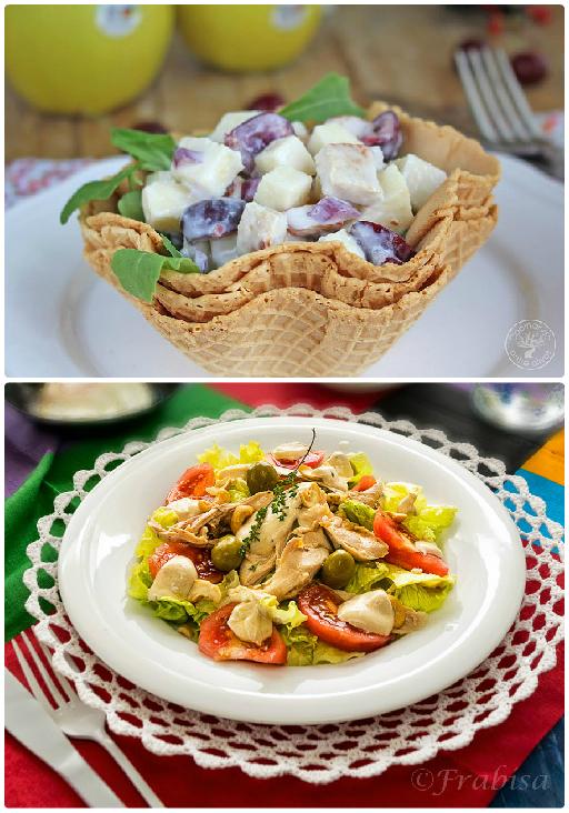 Ensalada de pavo, cerezas y manzanas y ensalada con pollo y salsa de yogurt