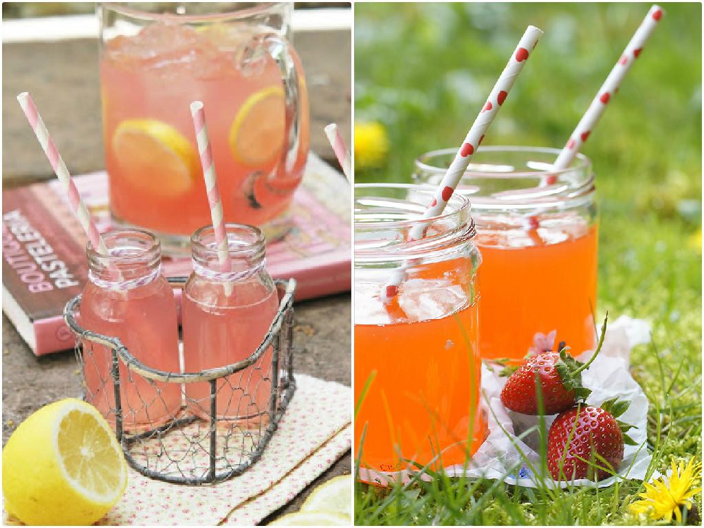 Limonada con zumo de arándanos y de fresas