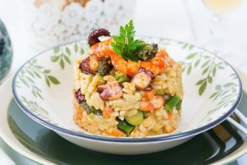 Arroz con pulpo, langostinos y trigueros del blog La cocina de Frabisa
