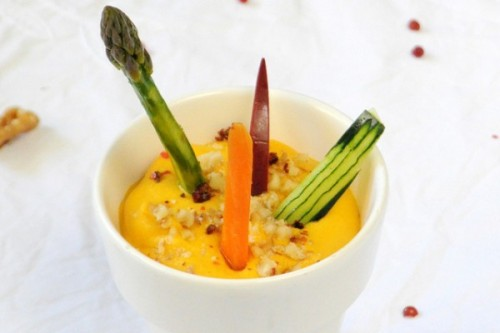 Dip de queso, calabaza y zanahoria con nueces del blog Margot, cosas de la vida