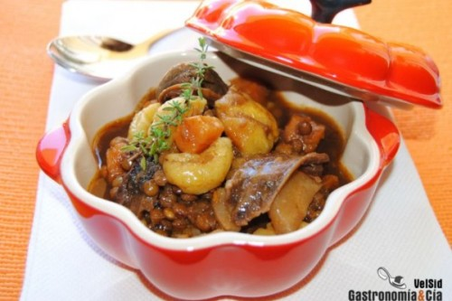 Lentejas con boniato y castañas del blog Gastronomía & Cía