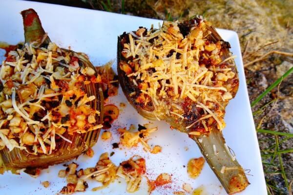 Alcachofas gratinadas con almendras del blog de cuina de Dolorss