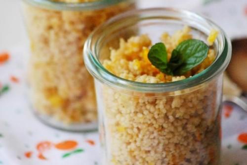 Cous cous integral de calabaza y naranja a la menta del blog Chez Silvia