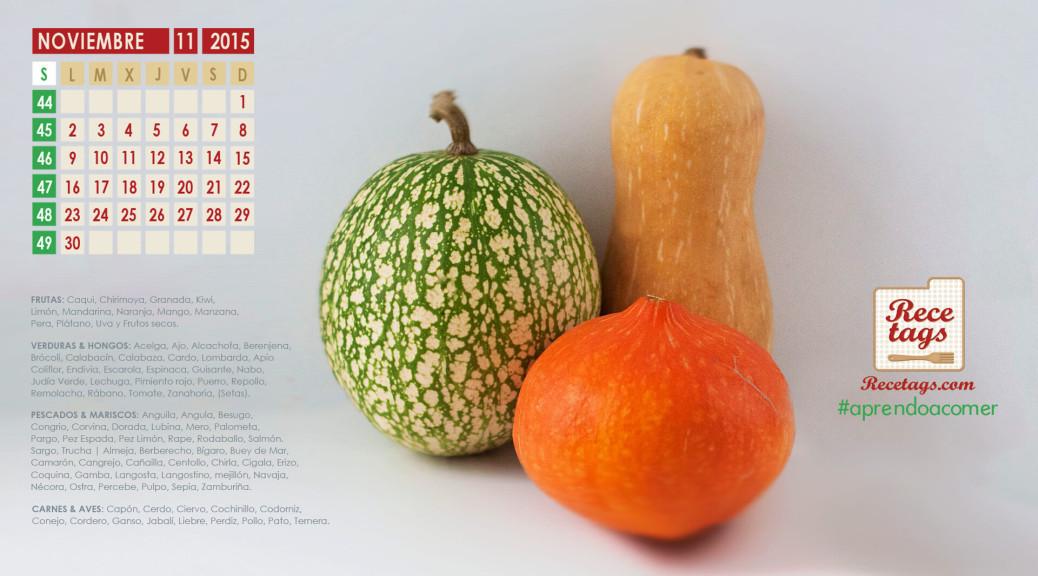 Calendario de noviembre 2015 - Calabazas