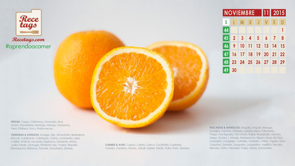 Calendario de noviembre 2015 - Naranjas
