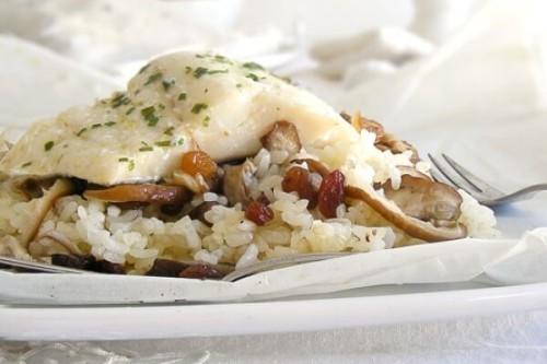 Bacalao con arroz y shiitake en papillote del blog Cogollos de Agua