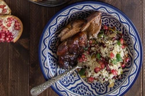 """Pata de cordero al horno al estilo persa con taboulé """"enjoyado"""" del blog ¿No quieres caldo?...Pues toma 2 tazas"""