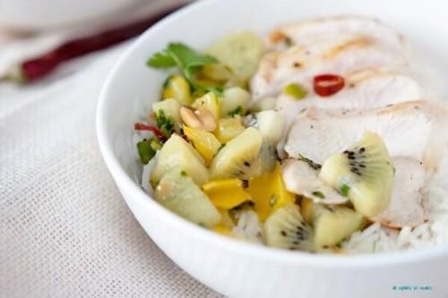 Pollo con salsa de kiwi picante del blog Sabores de Colores
