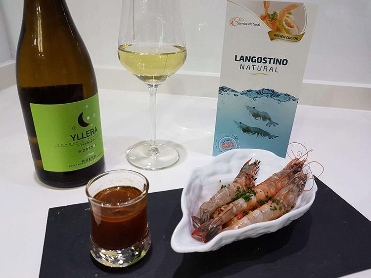 "Langostino ""Gamba Natural"" a llama con Verdejo Yllera"